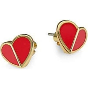 Kate Spade Earrings Gold Red Studs New